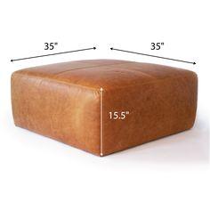 Sequoia Ottoman – Poly & Bark Leather Pouf Ottoman, Fabric Ottoman, Diy Ottoman, Leather Ottoman Coffee Table, Square Pouf, Square Ottoman, Large Sectional Sofa, Table Diy, Large Ottoman