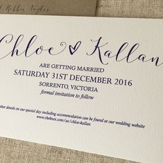 Navy Heart save the date card printed on Rives Tradition. What a brilliant stock!