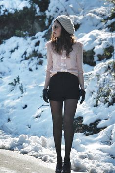 Winter outfit: Bows blouse + black shorts