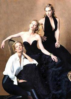 Шедевральные портреты Энни Лейбовиц : Звезды :Ума Турман, Кейт Бланшетт и Кейт Уинслет.
