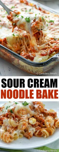 This Sour Cream Noodle Bake is loaded with ground beef, smothered with 3 differe. - This Sour Cream Noodle Bake is loaded with ground beef, smothered with 3 different types of cheese - Italian Casserole, Pasta Casserole, Easy Casserole Recipes, Sour Cream Pasta, Sour Cream Noodle Bake, Pastas Recipes, Cooking Recipes, Healthy Recipes, Chicken Recipes