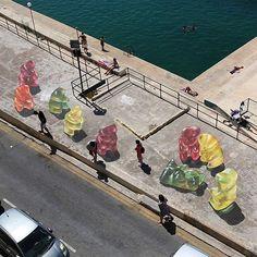 Gummy Bear Invasion by @leonkeer in Malta for #MaltaStreetartFestival