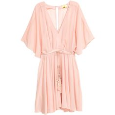 Short Chiffon Dress $59.99 (€56) ❤ liked on Polyvore featuring dresses, h&m, v neck mini dress, butterfly sleeve dress, short chiffon dress, short pink dress and zipper dress