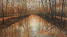 Canal Reflecting... Landscape Art, Landscape Paintings, Sky, Heaven, Landscape, Landscape Drawings, Paisajes, Landscape Architecture