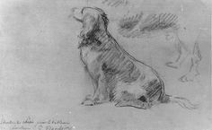 Henri-Pierre Danloux, 1791, chalk drawing of Marie Antoinette's spaniel Thisbe.  This dog accompanied the royal family to their imprisonment in the Temple.