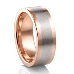 Palladium & 18K Rose Gold Flat Mens Wedding Band #TitaniumJewelry