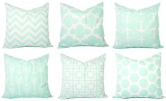 Mint Pillow Covers Mint Green and White by CastawayCoveDecor, $10.00