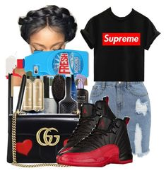 """Tomorrows Outfit ❤️⚪️"" by shamyadanyel ❤ liked on Polyvore featuring Moschino, Dorothy Perkins, Gucci, OBEY Clothing and NIKE"