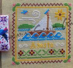 Little House Needleworks Monthly Sampler August Cross Stitch Ponto Cruz
