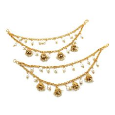 Gold Pearl Jhumki Indian Asian Pakistani Kan Chain Ear Chain Saharey Chain Jhumki Earrings, Dangle Earrings, Ear Chain, Hair Slide, Ivory Pearl, Pearl Color, Pakistani, Dangles, Pairs