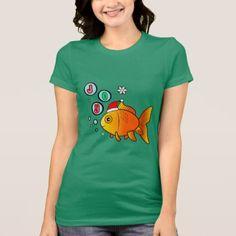 #Goldfish with Santa Hat and Bubbles of Joy T-Shirt - #Xmas #ChristmasEve Christmas Eve #Christmas #merry #xmas #family #kids #gifts #holidays #Santa