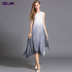 Find More Dresses Information about Summer Women suits Maxi dresses Sleeveless & O neck Real nature silk Long beach Casusal Dress Big size Elegant Fashion Vestidos,High Quality Dresses from Sharewin Fashion(QEJIN) Co.,ltd on Aliexpress.com