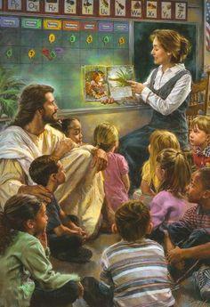 Jesus listening with the children.