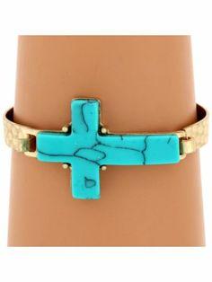 Turquoise Stone Cross Goldtone Hook Bracelet