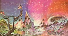 Triptych by Barbara Remington for the 1965 Ballantine printing of Lord of the Rings trilogy.