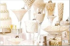 white and gold candy buffet   #wedding  #candybuffet
