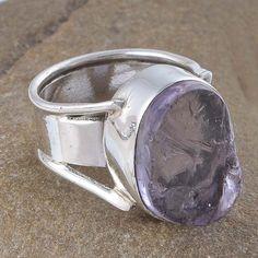 ANTIQUE 925 SOLID SILVER AMETRINE ROUGH GEMSTONE RING 10.55g R01160 #Handmade #RING