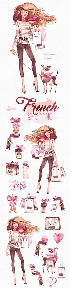 French Shopping. Watercolor fashion Clipart shoes by OctopusArtis