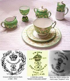 Crown Staffordshire Pottery Marks - Antique Bone China Query: Crown Staffordshire Pottery Marks - Antique Bone China Query:  I have a complete set of bed tray china.  It includes plate, cup and saucer, two sided egg