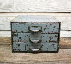Vintage Industrial Distressed Grey Metal Cabinet by AuroraMills, $75.00