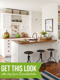 Tips to Get This Look: Warm Wood Tones in a White Kitchen | @Remodelaholic .com