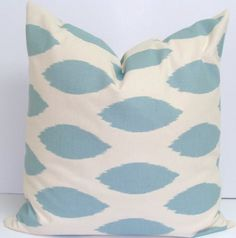 Pillow SALE.Blue Ikat.18x18 inch.Pillow Cover.Printed Fabric Front and Back.Spots.Ikat.Pillow Coordinates.Blue Fabric.Housewares