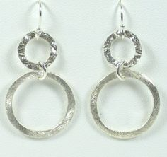 Double Circle Drop Earrings Circular Brushed by gemsinvogue, $18.00