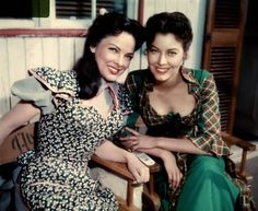 Classic film stars Kathryn Grayson and Ava Gardner on set for the 1951 MGM musical hit Showboat.