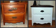 Before Meets After: painted and stained nightstand