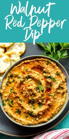 Muhammara Recipe (Red Pepper Walnut Dip) This Muhammara Recipe is loaded with nutrients, proteins and healthy fats. Serve this delicious Red Pepper Walnut Dip at your next party as an alternative to the same old salsa and hummus! Appetizers For Party, Appetizer Recipes, Snack Recipes, Party Snacks, Vegan Snacks, Red Pepper Dip, Bell Pepper, Healthy Dips, Healthy Recipes