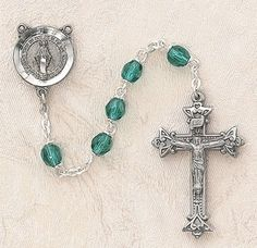 $28.74 + $9.25 shipping - Heritage Italian Catholic Emerald (May) Czech Birthstone Rosary Silver Oxidized 5mm Crystal Bead 1¼ Crucifix by Creed Jewelry, http://www.amazon.com/dp/B00CR6C0WQ/ref=cm_sw_r_pi_dp_QLmKrb1ZYZ2G4
