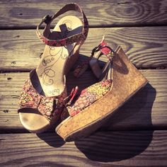 """BOGO 1/2 OffFloral Wedges Faux cork wedge with floral, fabric upper. These shoes are super cute with a light summer dress. Left shoe has a scuff on the front as shown in the picture. 4"""" in wedge with 3"""" platform. Mudd Shoes Wedges"""