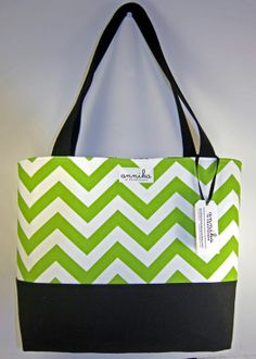 Checkout this amazing product Large Green and White Chevron Tote Bag with by AnnikainChautauqua, $59.99 at Shopintoit
