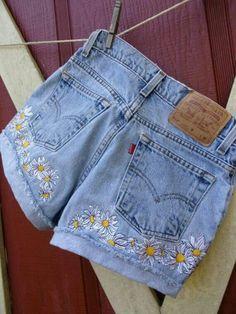 daisy embroidered denim shorts