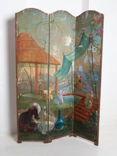 Painted Room Screen – Drew Pritchard Ltd Oriental Countries, Salvage Hunters, Antique Restoration, Room Screen, Remodels And Restorations, Country Scenes, Architectural Antiques, Small House Design, Contemporary Bathrooms