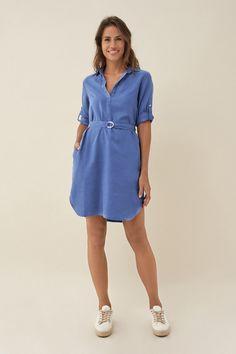 Find Skirts / Dresses and buy Shirt dress Buy Shirts, Jean Shirts, Leather Ankle Boots, Leather Jacket, Jean Shirt Dress, Jeans, Black Camel, Vogue, Camisa Formal