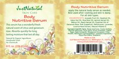 Natural Body Nutritive Skin Serum Organic Moisturizing Skin Care - I think I could make this myself.