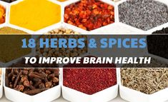 18 Herbs & Spices That Boost Cognition & Improve Brain Health - ClearCogni Brain Nutrition, Brain Health, Mind Diet, Brain Supplements, Brain Food, Spices, Herbs