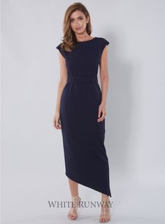 Celina Dress. A stylish maxi dress by Samantha Rose. A flattering high neck style featuring an assymetrical hem and waistbelt.