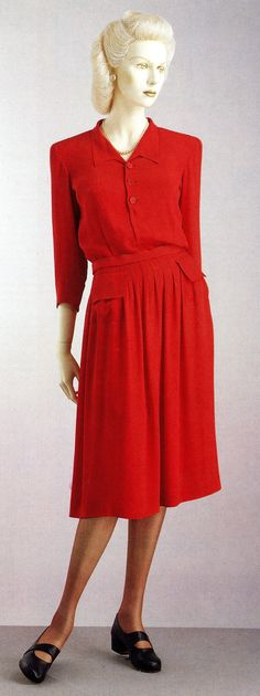 "~""Utility"" dress, c.1940s. The British government introduced the Utility Clothing Scheme to address the shortage of labor and materials during and after WWII~ Silhouettes were kept simple, but many were in fact commissioned from leading designers, such as Hardy Amies and Norman Hartnell."
