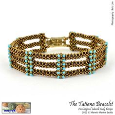 cubic right angle weave. The Tatiana bracelet is made of three strips of cubic right angle weave (CRAW) joined with CRAW embellished columns which are both decorative as well as serve to hold the strips in place.