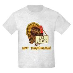EAT LATKES Thanksgiving Hanukkah Tshirt Hanukkah Thanksgiving together in 2013! Funny tee shows a cartoon turkey with a sign that says EAT LATKES  #latkes #thanksgiving #hanukkah
