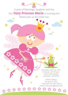 Fairy Princess Birthday Party Invitation for kids by TBoneSquid, $15.00