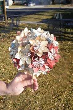 Origami flower bouquet. $60.00, via Etsy.