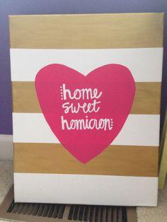 """Home sweet Sigma"" in grey, coral & Aqua"