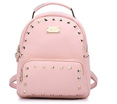 Buenocn Women Preppy Style Backpack Pu Leather Rivets Schoolbag Shoulder Bag Shy851 (purple)