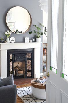 Grey interior, monochrome, Victorian terrace. IKEA Stockholm mirror, Habitat BERT coffee table.