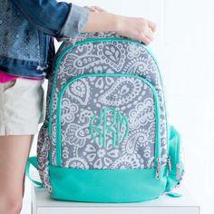 Monogram Parker Paisley Backpack, Girls Monogram Book bag, Backpack and Lunch box