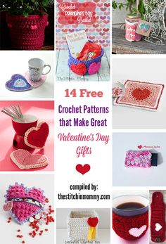 14 Free Crochet Patterns That Make Great Valentine's Day Gifts 14 Free Crochet Patterns That Make Great Valentine's Day Gifts compiled by The Stitchin' Mommy Valentines Day Baskets, Great Valentines Day Gifts, Valentines Day Decorations, Valentine Day Crafts, Holiday Crafts, Christmas Gifts, Funny Valentine, Valentine Box, Crochet Gratis