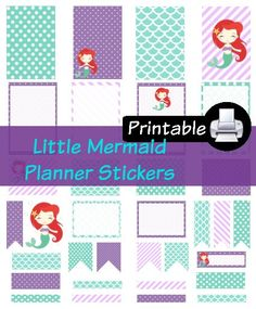 Disney Little Mermaid Ariel Princess PDF PRINTABLE Planner Stickers Happy Planner Erin Condren Planner Filofax Plum Paper Decorating Kit by WhimsicalWende on Etsy